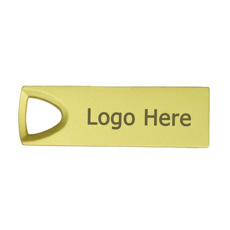 Personalized Classy Shape Steel USB Flash Drive (16G, 32G) (Gold)